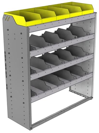 "24-4548-4 Square back bin separator combo shelf unit 43""Wide x 15.5""Deep x 48""High with 4 shelves"