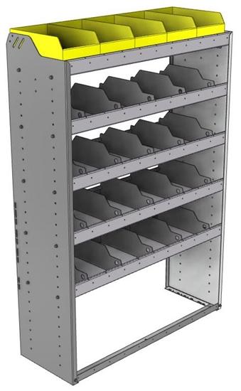"24-4563-5 Square back bin separator combo shelf unit 43""Wide x 15.5""Deep x 63""High with 5 shelves"