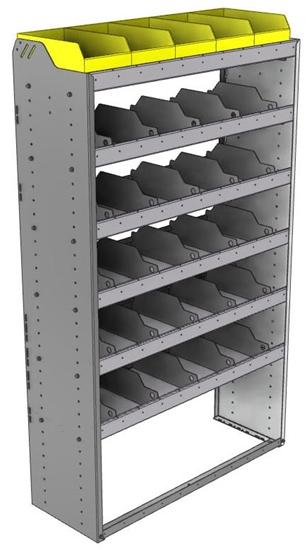 "24-4572-6 Square back bin separator combo shelf unit 43""Wide x 15.5""Deep x 72""High with 6 shelves"