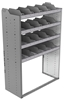 "24-4863-4 Square back bin separator combo shelf unit 43""Wide x 18.5""Deep x 63""High with 4 shelves"