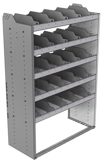 "24-4863-5 Square back bin separator combo shelf unit 43""Wide x 18.5""Deep x 63""High with 5 shelves"
