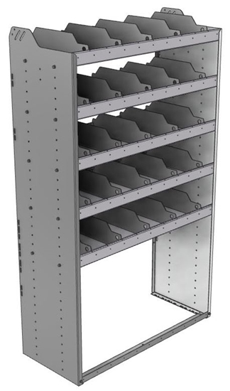 "24-4872-5 Square back bin separator combo shelf unit 43""Wide x 18.5""Deep x 72""High with 5 shelves"
