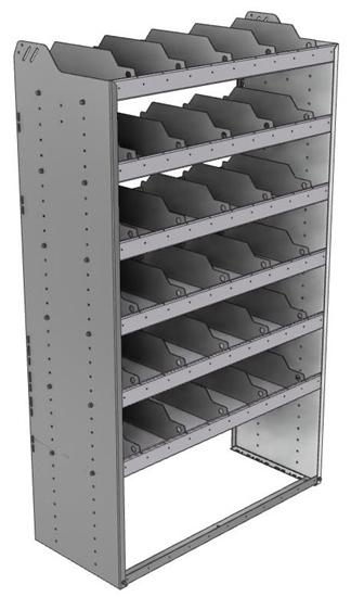"24-4872-6 Square back bin separator combo shelf unit 43""Wide x 18.5""Deep x 72""High with 6 shelves"