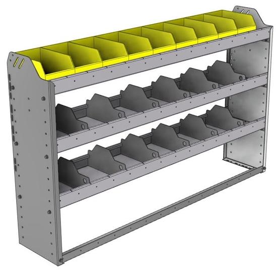 "24-5136-3 Square back bin separator combo shelf unit 58.5""Wide x 11.5""Deep x 36""High with 3 shelves"