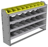 "24-5136-4 Square back bin separator combo shelf unit 58.5""Wide x 11.5""Deep x 36""High with 4 shelves"