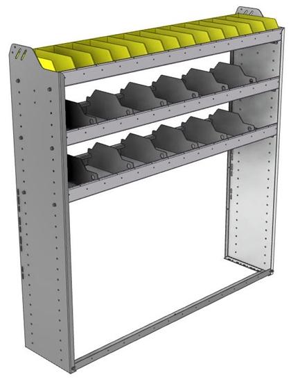 "24-5358-3 Square back bin separator combo shelf unit 58.5""Wide x 13.5""Deep x 58""High with 3 shelves"