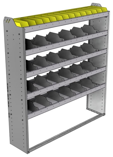 "24-5363-5 Square back bin separator combo shelf unit 58.5""Wide x 13.5""Deep x 63""High with 5 shelves"