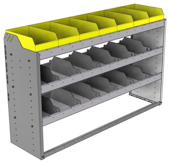 "24-5536-3 Square back bin separator combo shelf unit 58.5""Wide x 15.5""Deep x 36""High with 3 shelves"