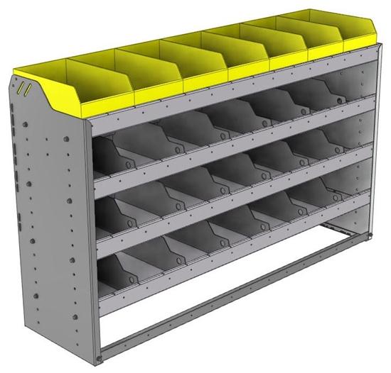 "24-5536-4 Square back bin separator combo shelf unit 58.5""Wide x 15.5""Deep x 36""High with 4 shelves"