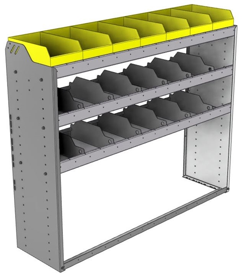 "24-5548-3 Square back bin separator combo shelf unit 58.5""Wide x 15.5""Deep x 48""High with 3 shelves"