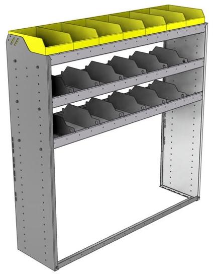 "24-5558-3 Square back bin separator combo shelf unit 58.5""Wide x 15.5""Deep x 58""High with 3 shelves"