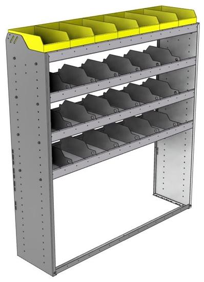 "24-5563-4 Square back bin separator combo shelf unit 58.5""Wide x 15.5""Deep x 63""High with 4 shelves"