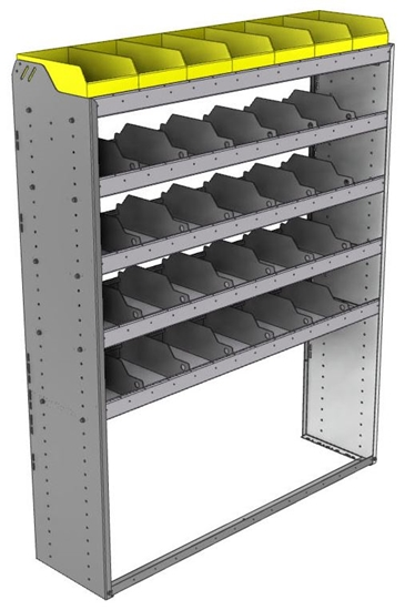 "24-5572-5 Square back bin separator combo shelf unit 58.5""Wide x 15.5""Deep x 72""High with 5 shelves"