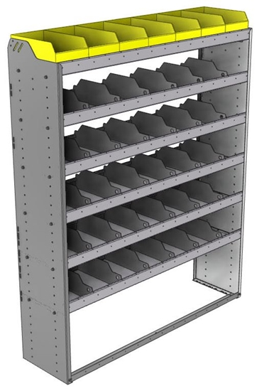 "24-5572-6 Square back bin separator combo shelf unit 58.5""Wide x 15.5""Deep x 72""High with 6 shelves"