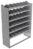 "24-5872-6 Square back bin separator combo shelf unit 58.5""Wide x 18.5""Deep x 72""High with 6 shelves"