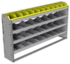 "24-6136-4 Square back bin separator combo shelf unit 67""Wide x 11.5""Deep x 36""High with 4 shelves"