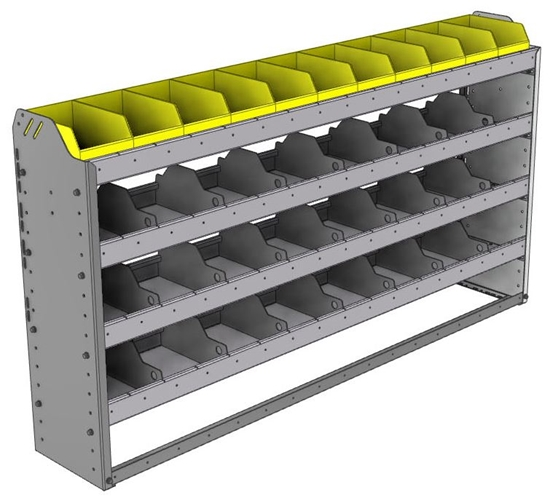 "24-6136-4 Square back bin separator combo shelf unit 67""Wide x 11.5""Deep x 36""High with 4 shelves"