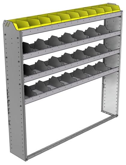 "24-6163-4 Square back bin separator combo shelf unit 67""Wide x 11.5""Deep x 63""High with 4 shelves"