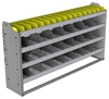 "24-6336-4 Square back bin separator combo shelf unit 67""Wide x 13.5""Deep x 36""High with 4 shelves"