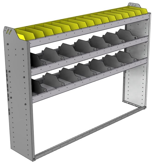 "24-6348-3 Square back bin separator combo shelf unit 67""Wide x 13.5""Deep x 48""High with 3 shelves"