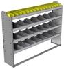 "24-6348-4 Square back bin separator combo shelf unit 67""Wide x 13.5""Deep x 48""High with 4 shelves"
