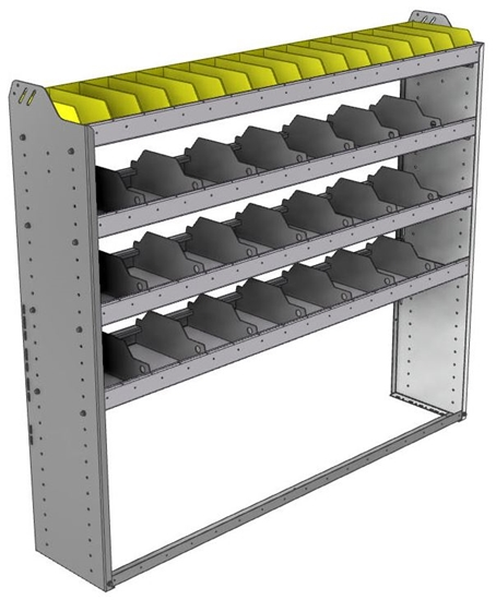 "24-6358-4 Square back bin separator combo shelf unit 67""Wide x 13.5""Deep x 58""High with 4 shelves"