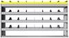 "24-6536-4 Square back bin separator combo shelf unit 67""Wide x 15.5""Deep x 36""High with 4 shelves"