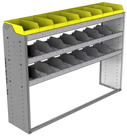 "24-6548-3 Square back bin separator combo shelf unit 67""Wide x 15.5""Deep x 48""High with 3 shelves"