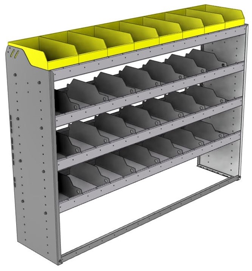 "24-6548-4 Square back bin separator combo shelf unit 67""Wide x 15.5""Deep x 48""High with 4 shelves"