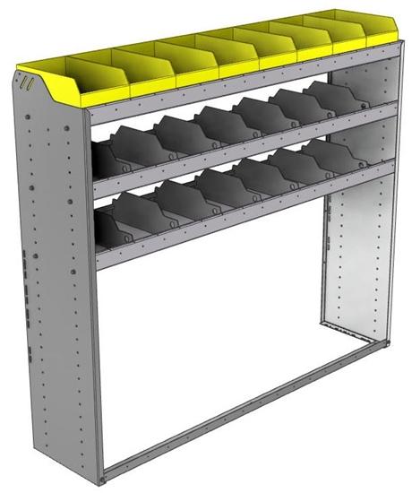 "24-6558-3 Square back bin separator combo shelf unit 67""Wide x 15.5""Deep x 58""High with 3 shelves"