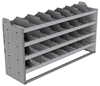 "24-6836-4 Square back bin separator combo shelf unit 67""Wide x 18.5""Deep x 36""High with 4 shelves"