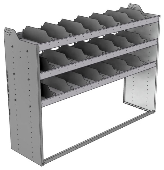 "24-6848-3 Square back bin separator combo shelf unit 67""Wide x 18.5""Deep x 48""High with 3 shelves"