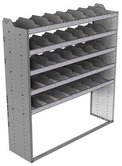 "24-6872-5 Square back bin separator combo shelf unit 67""Wide x 18.5""Deep x 72""High with 5 shelves"