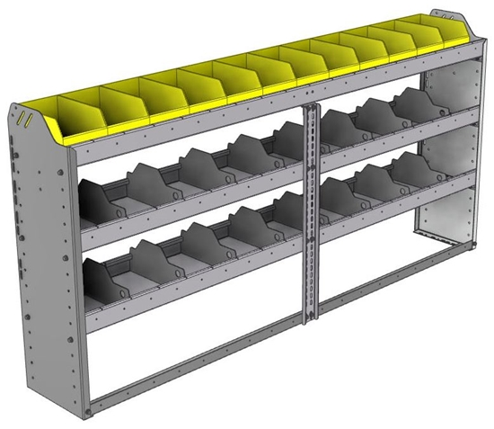 "24-7136-3 Square back bin separator combo shelf unit 75""Wide x 11.5""Deep x 36""High with 3 shelves"