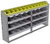 "24-7136-4 Square back bin separator combo shelf unit 75""Wide x 11.5""Deep x 36""High with 4 shelves"