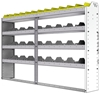 "24-7148-4 Square back bin separator combo shelf unit 75""Wide x 11.5""Deep x 48""High with 4 shelves"