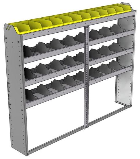 "24-7158-4 Square back bin separator combo shelf unit 75""Wide x 11.5""Deep x 58""High with 4 shelves"