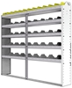 "24-7163-5 Square back bin separator combo shelf unit 75""Wide x 11.5""Deep x 63""High with 5 shelves"