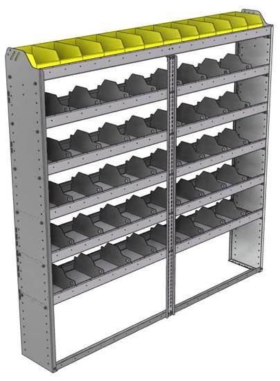 "24-7172-6 Square back bin separator combo shelf unit 75""Wide x 11.5""Deep x 72""High with 6 shelves"