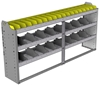 "24-7336-3 Square back bin separator combo shelf unit 75""Wide x 13.5""Deep x 36""High with 3 shelves"