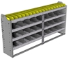"24-7336-4 Square back bin separator combo shelf unit 75""Wide x 13.5""Deep x 36""High with 4 shelves"