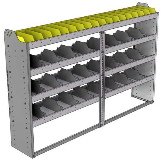 "24-7348-4 Square back bin separator combo shelf unit 75""Wide x 13.5""Deep x 48""High with 4 shelves"