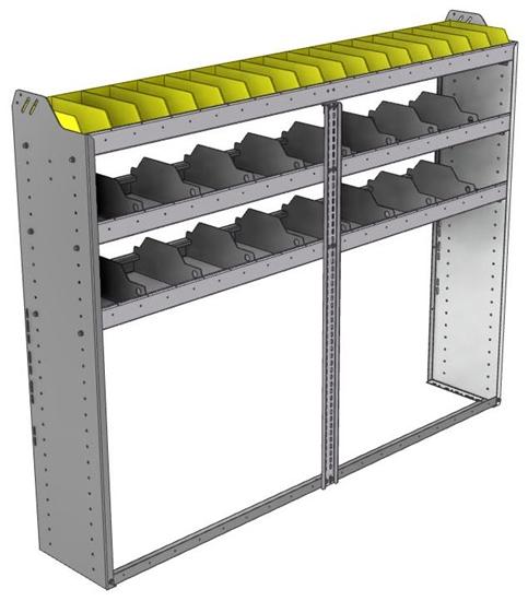 "24-7358-3 Square back bin separator combo shelf unit 75""Wide x 13.5""Deep x 58""High with 3 shelves"