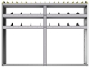 "24-7358-3 Square back bin separator combo shelf unit 75""Wide x 13.5""Deep x 58""High with 3 shelves"