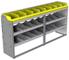 "24-7536-3 Square back bin separator combo shelf unit 75""Wide x 15.5""Deep x 36""High with 3 shelves"