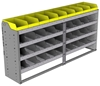 "24-7536-4 Square back bin separator combo shelf unit 75""Wide x 15.5""Deep x 36""High with 4 shelves"