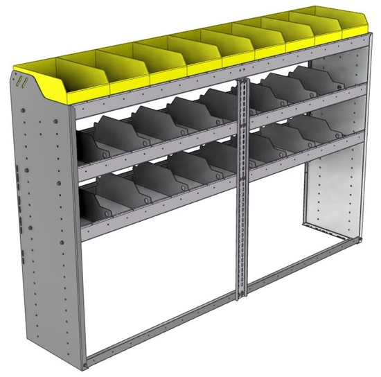 "24-7548-3 Square back bin separator combo shelf unit 75""Wide x 15.5""Deep x 48""High with 3 shelves"