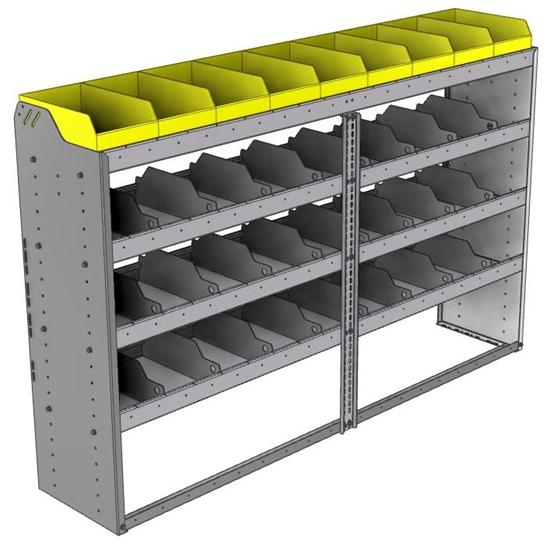 "24-7548-4 Square back bin separator combo shelf unit 75""Wide x 15.5""Deep x 48""High with 4 shelves"