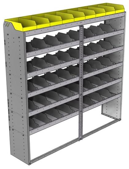 "24-7572-6 Square back bin separator combo shelf unit 75""Wide x 15.5""Deep x 72""High with 6 shelves"
