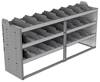 "24-7836-3 Square back bin separator combo shelf unit 75""Wide x 18.5""Deep x 36""High with 3 shelves"